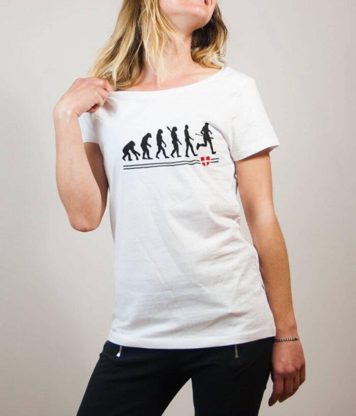 T-shirt Joggeur : Évolution de l'homme en coureur de trail femme blanc