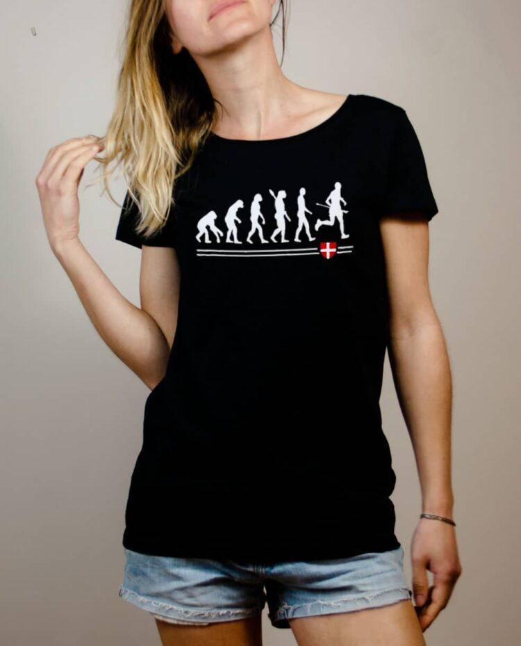 T-shirt Joggeur : Évolution de l'homme en coureur de trail femme noir
