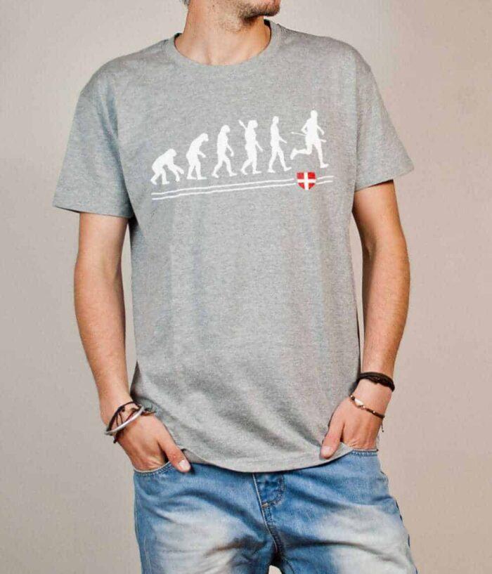 T-shirt Joggeur : Évolution de l'homme en coureur de trail homme gris