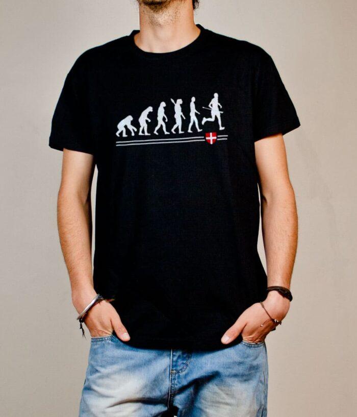 T-shirt Joggeur : Évolution de l'homme en coureur de trail homme noir