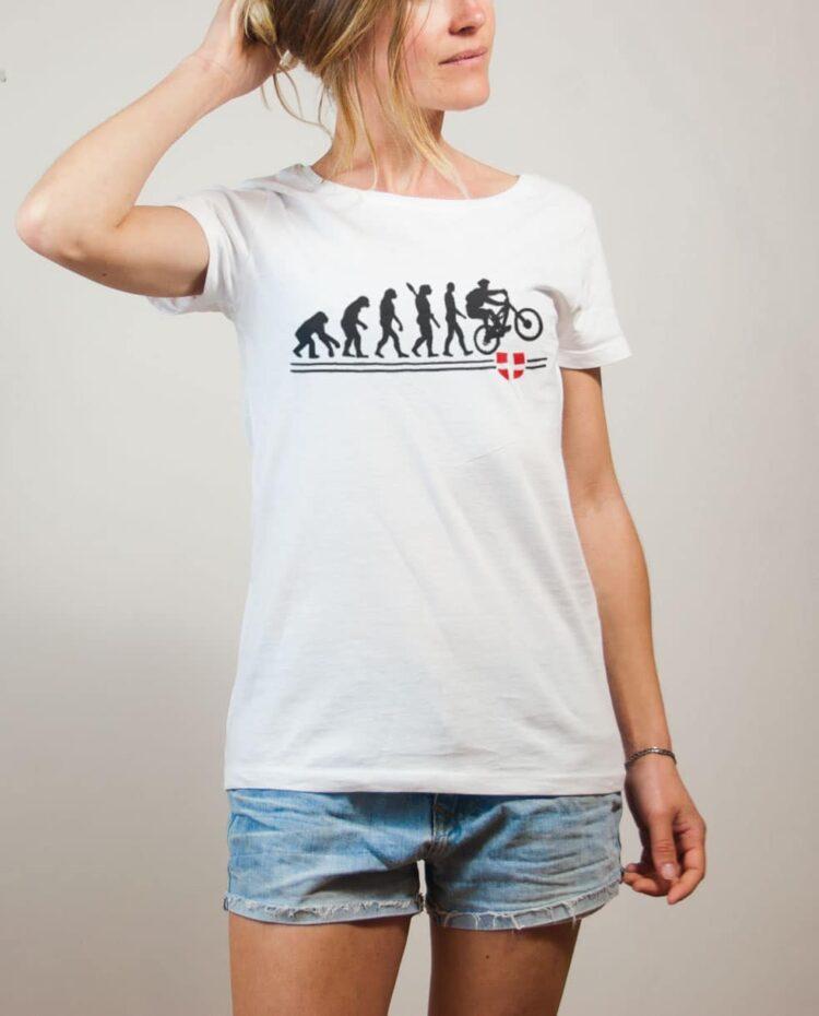 T-shirt VTTiste : Évolution de l'homme en rider de VTT femme blanc