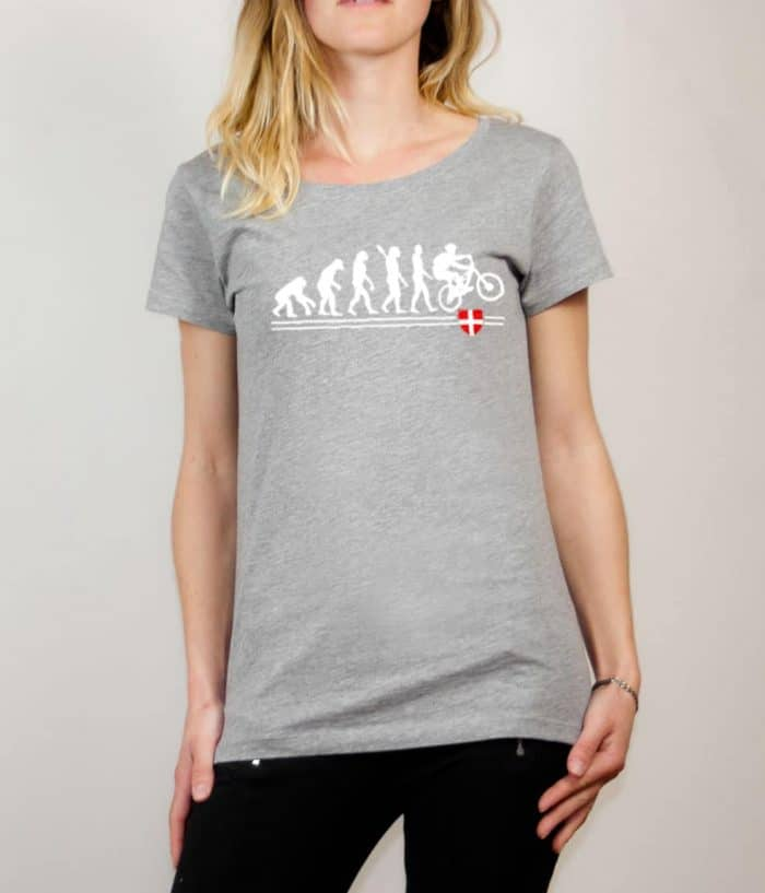 T-shirt VTTiste : Évolution de l'homme en rider de VTT femme gris