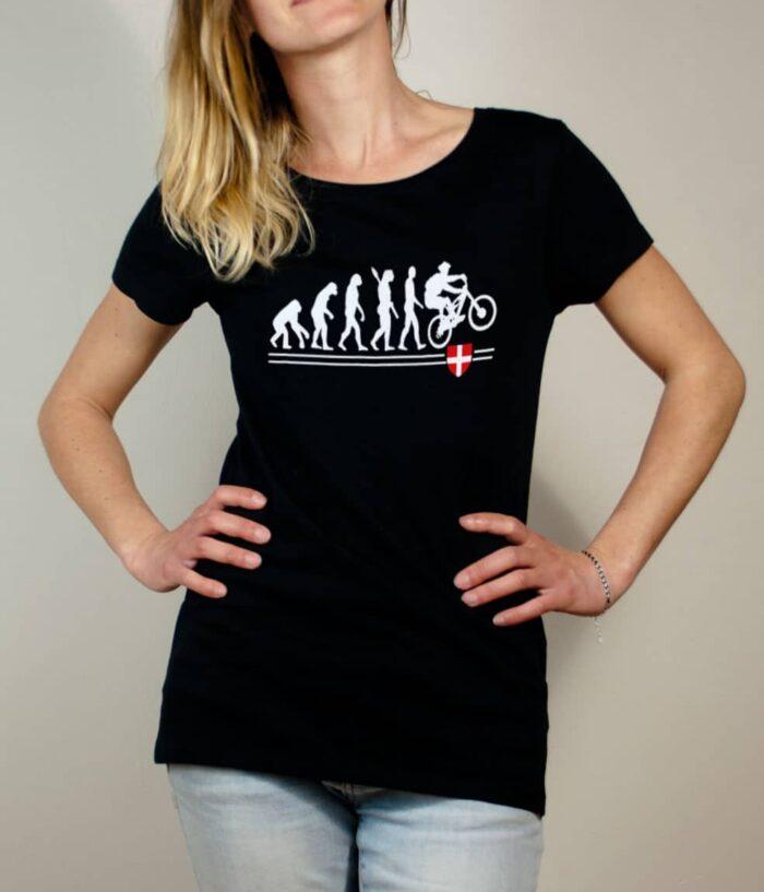 T-shirt VTTiste : Évolution de l'homme en rider de VTT femme noir