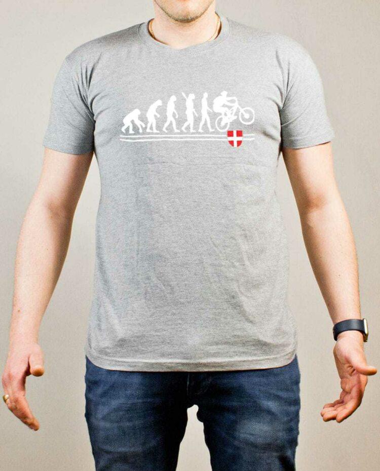 T-shirt VTTiste : Évolution de l'homme en rider de VTT homme gris