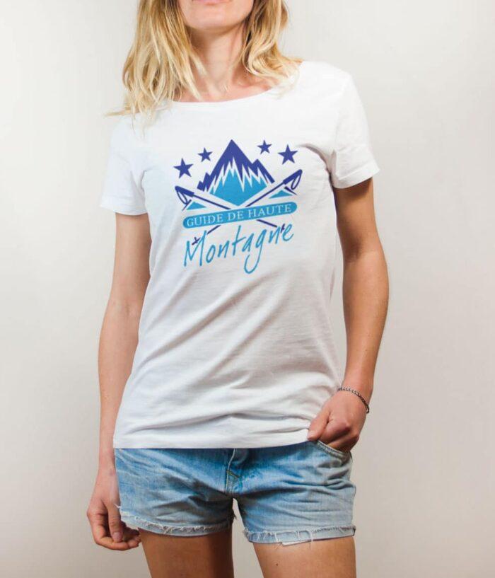 T-shirt Montagnard : Guide de Haute Montagne femme blanc