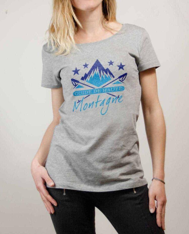 T-shirt Montagnard : Guide de Haute Montagne femme gris