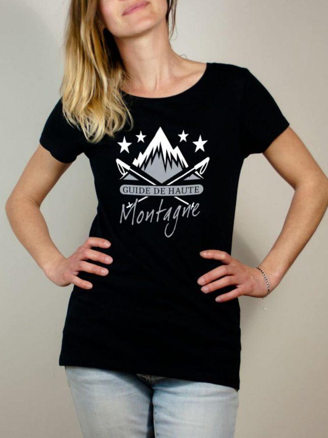 T-shirt Montagnard : Guide de Haute Montagne femme noir