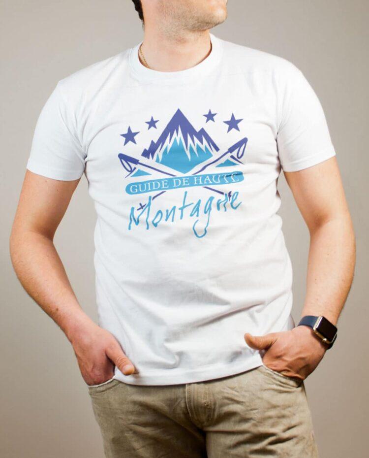 T-shirt Montagnard : Guide de Haute Montagne homme blanc