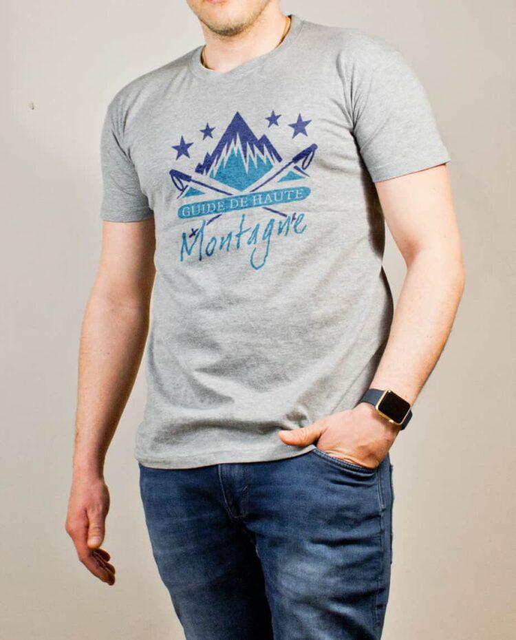 T-shirt Montagnard : Guide de Haute Montagne homme gris