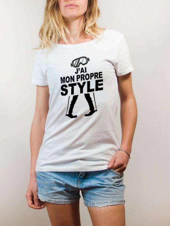 T-shirt Ski : J'ai mon propre style femme blanc