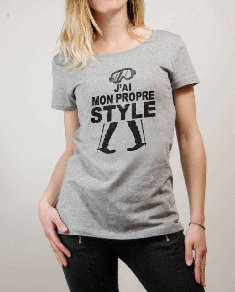 T-shirt Ski : J'ai mon propre style femme gris