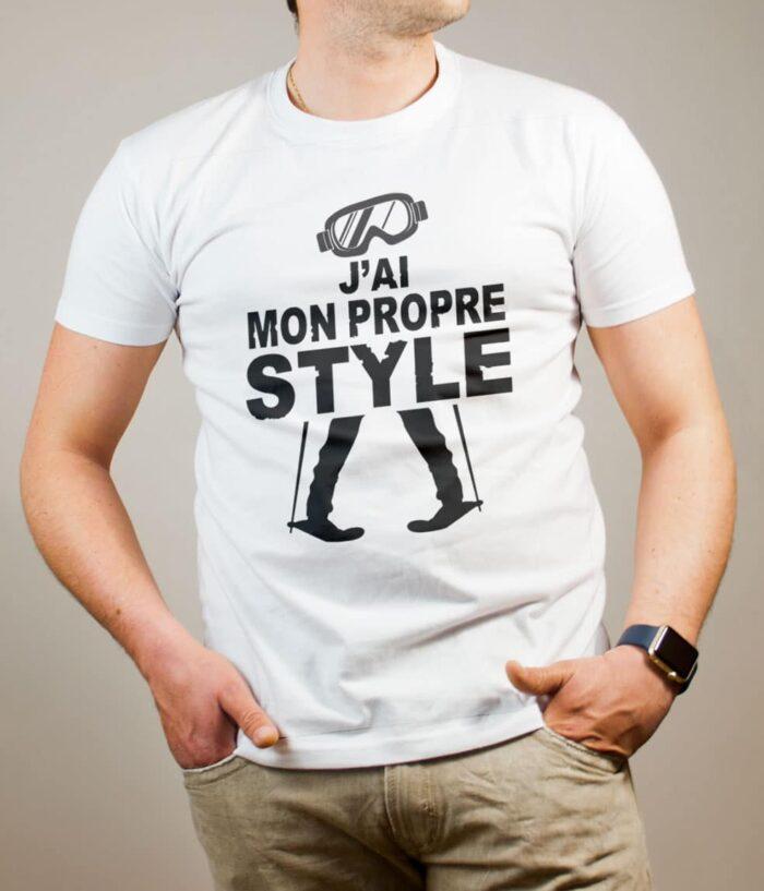 T-shirt Ski : J'ai mon propre style homme blanc