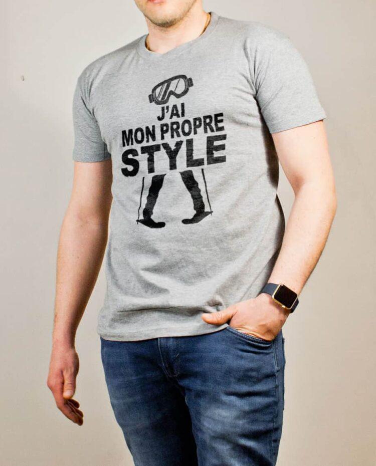 T-shirt Ski : J'ai mon propre style homme gris