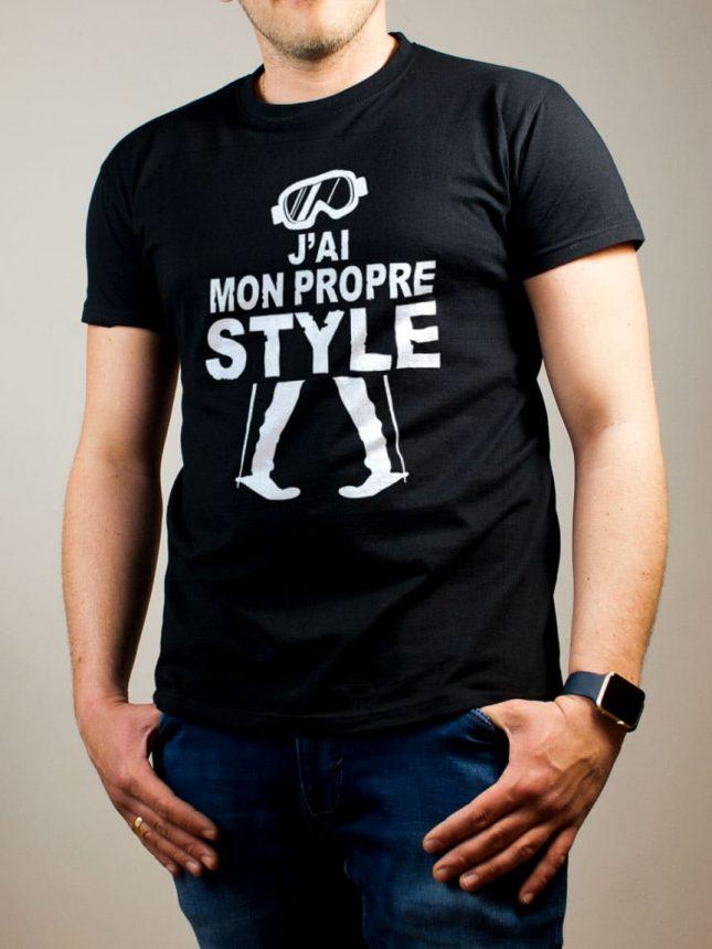 T-shirt Ski : J'ai mon propre style homme noir