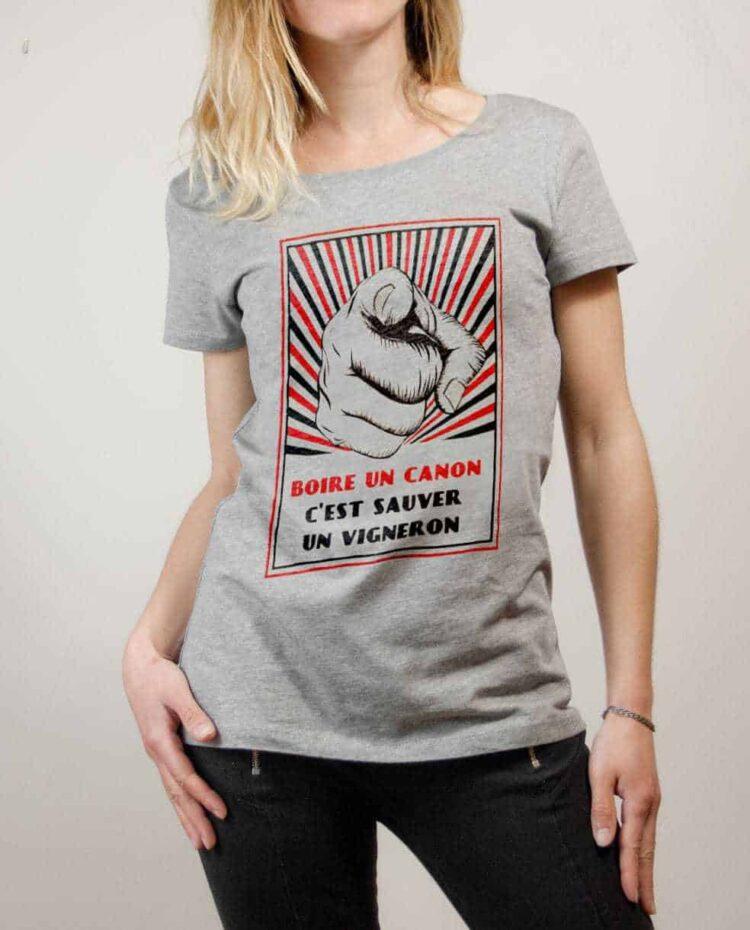 T-shirt Savoie : Boire un canon c'est sauver un vigneron femme gris