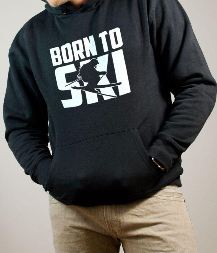 Sweat Savoie : Born to Ski homme noir