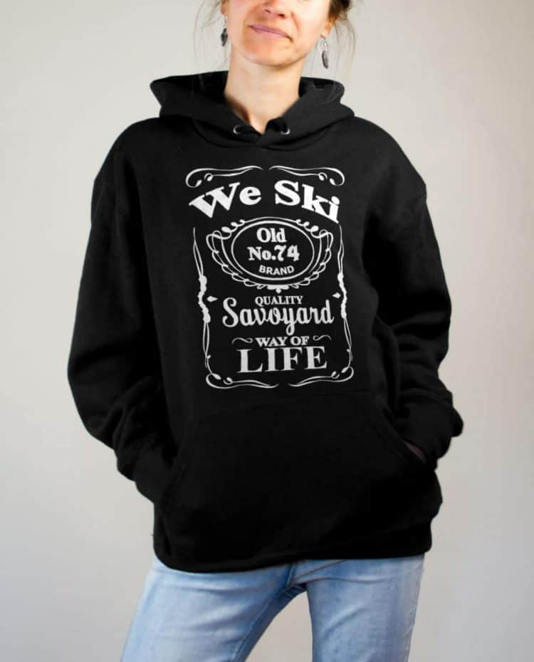 Sweat Haute-Savoie : We Ski 74 ( Whiskey Jack Daniel's) femme noir