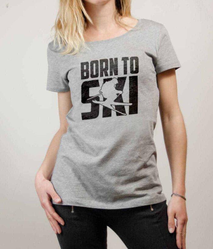 T-shirt Savoie : Born to Ski femme gris