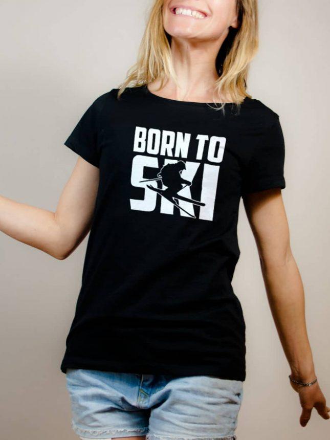 T-shirt Savoie : Born to Ski femme noir