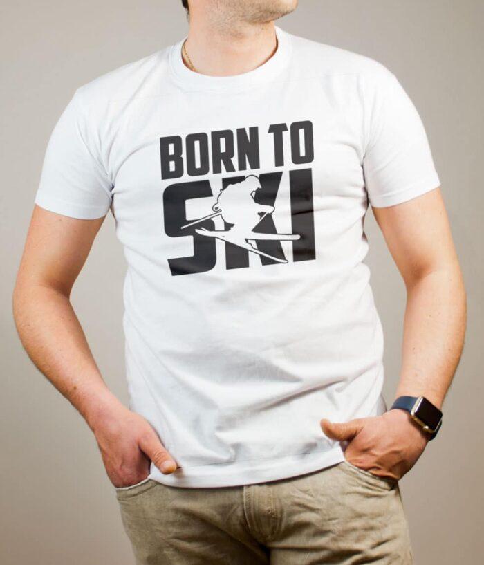 T-shirt Savoie : Born to Ski homme blanc