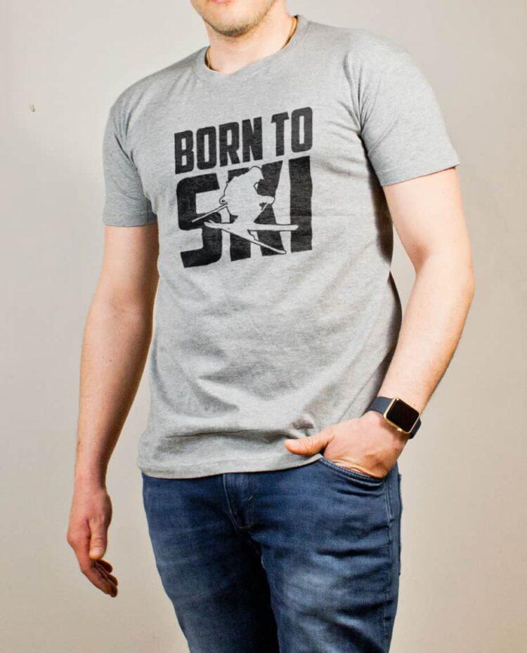 T-shirt Savoie : Born to Ski homme gris