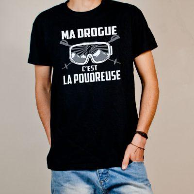 T-shirt Ski : Ma drogue c'est la Poudreuse homme noir