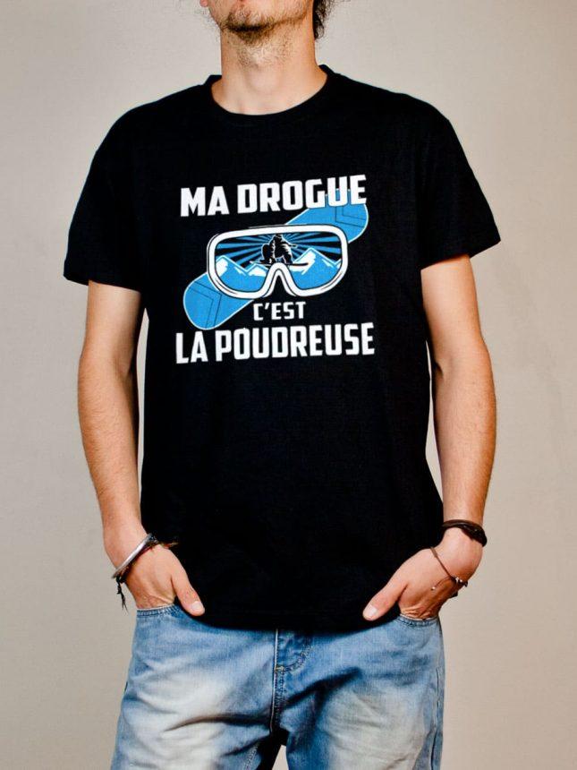 T-shirt Snowboard : Ma drogue c'est la Poudreuse homme noir