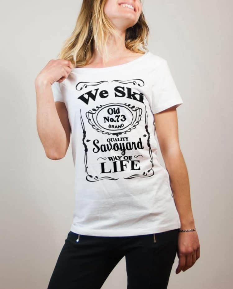 T-shirt Savoie : We Ski 73 ( Whiskey Jack Daniel's) femme blanc
