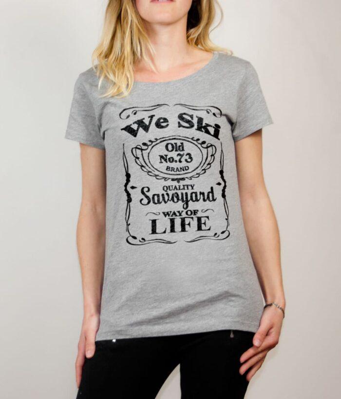T-shirt Savoie : We Ski 73 ( Whiskey Jack Daniel's) femme gris