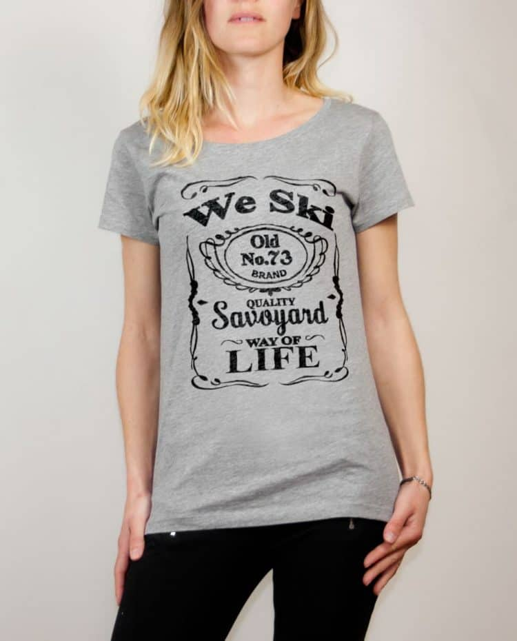 T-shirt Savoie : We Ski 73 ( Whiskey Jack Daniel's) femme gris