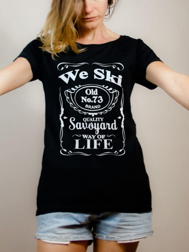 T-shirt Savoie : We Ski 73 ( Whiskey Jack Daniel's) femme noir