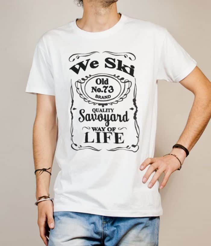 T-shirt Savoie : We Ski 73 ( Whiskey Jack Daniel's) homme blanc