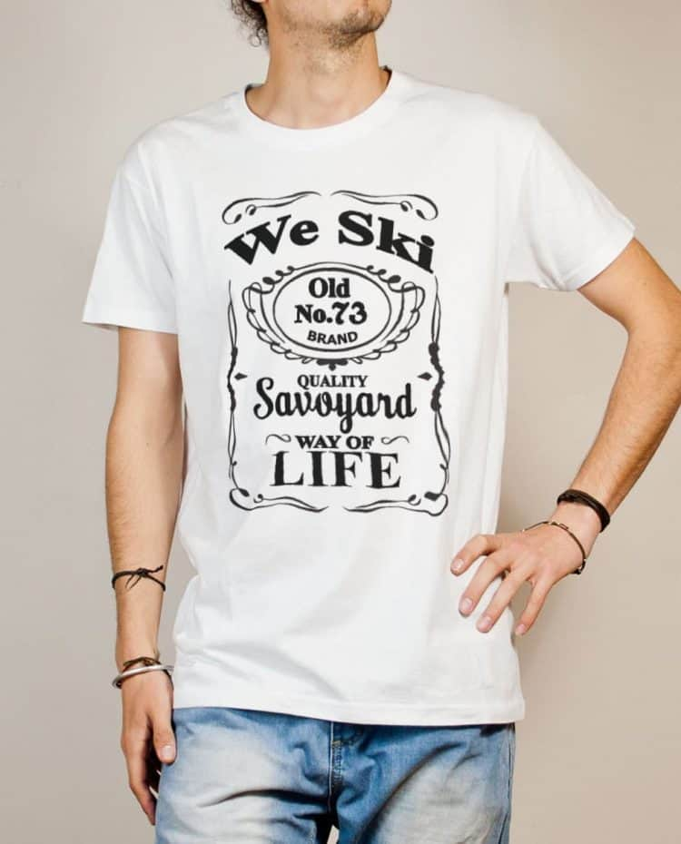 T-shirt Savoie : We Ski 73 ( Whiskey Jack Daniel's) homme blanc