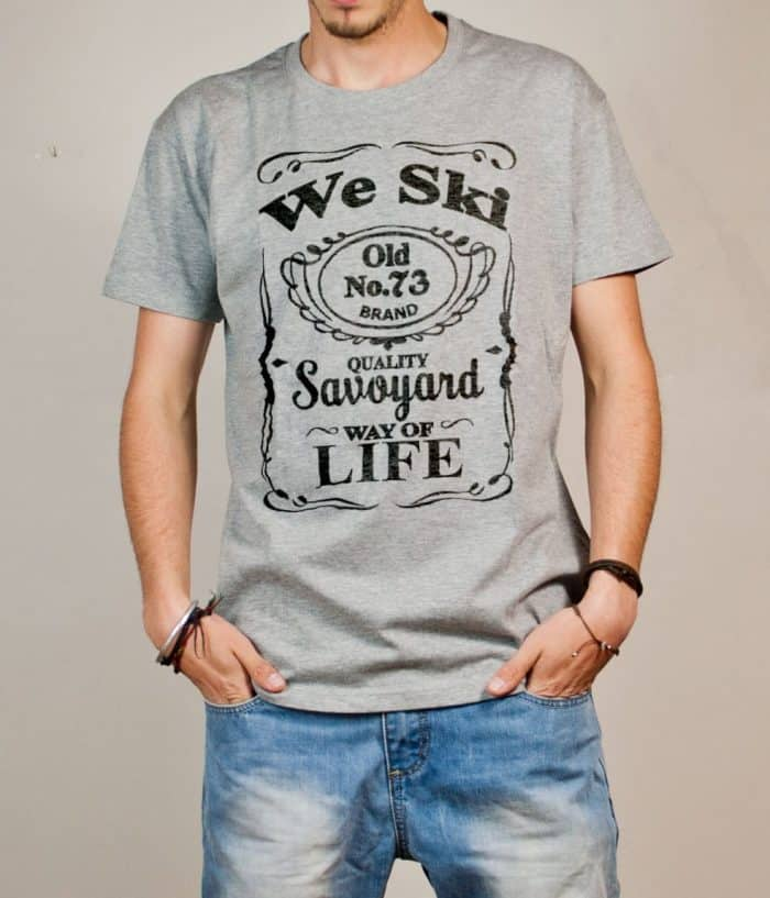 T-shirt Savoie : We Ski 73 ( Whiskey Jack Daniel's) homme gris