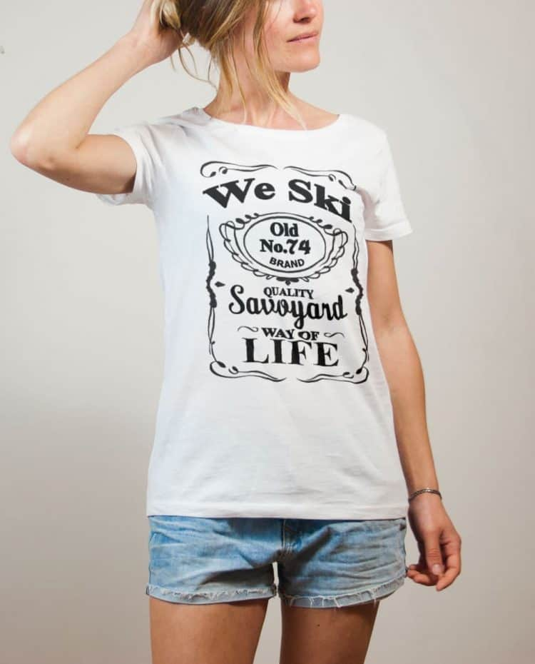 T-shirt Haute-Savoie : We Ski 74 ( Whiskey Jack Daniel's) femme blanc