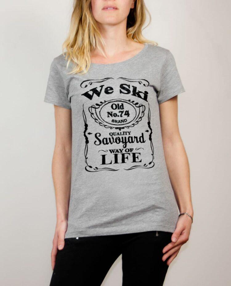T-shirt Haute-Savoie : We Ski 74 ( Whiskey Jack Daniel's) femme gris