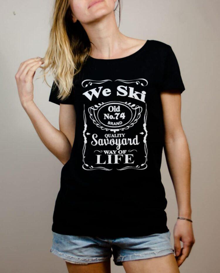 T-shirt Haute-Savoie : We Ski 74 ( Whiskey Jack Daniel's) femme noir
