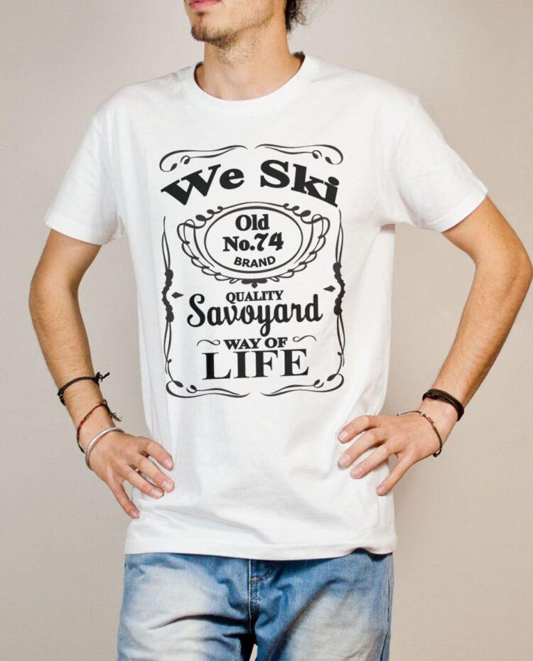 T-shirt Haute-Savoie : We Ski 74 ( Whiskey Jack Daniel's) homme blanc