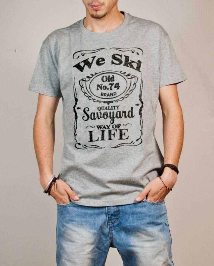 T-shirt Haute-Savoie : We Ski 74 ( Whiskey Jack Daniel's) homme gris