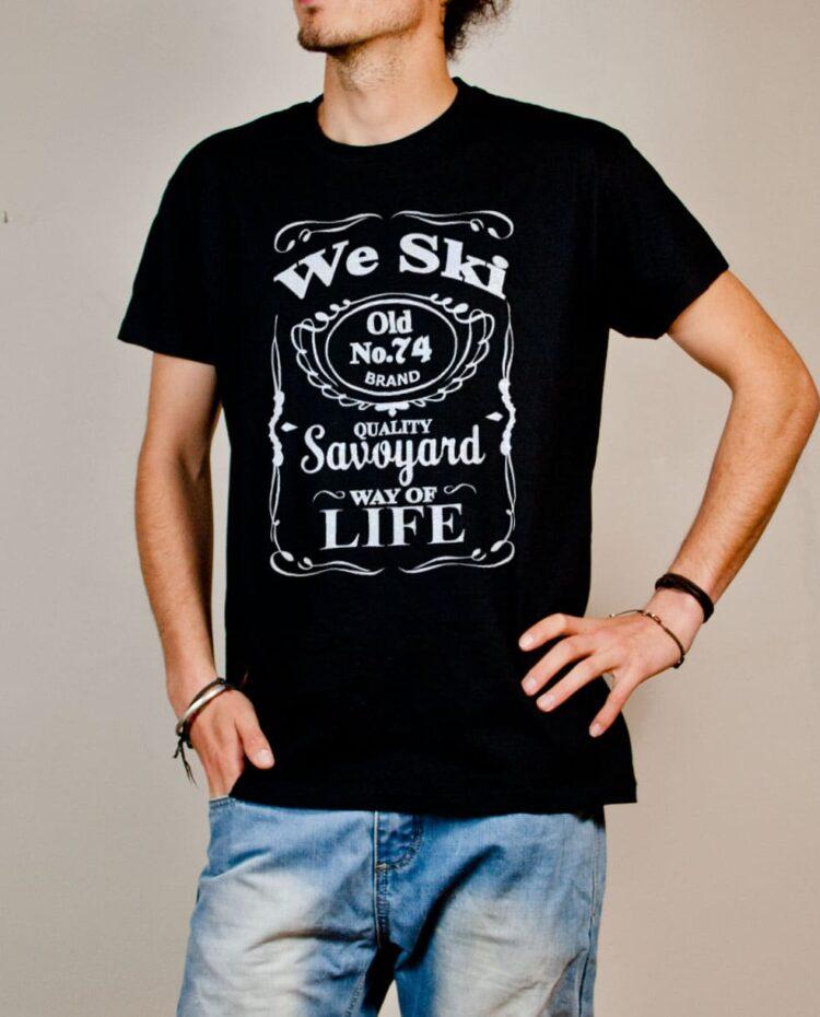 T-shirt Haute-Savoie : We Ski 74 ( Whiskey Jack Daniel's) homme noir