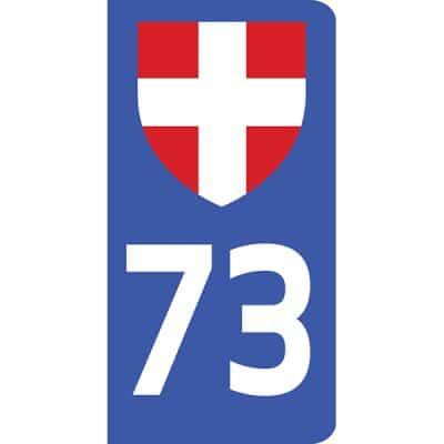Autocollant 73 Savoie pour plaque d'immatriculation voiture