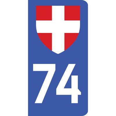 Autocollant 74 Haute-Savoie pour plaque d'immatriculation voiture