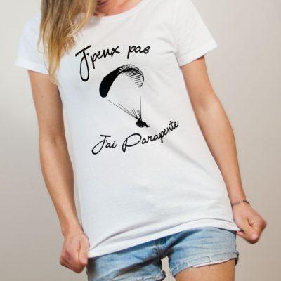 T-shirt Savoie : J'peux pas J'ai Parapente femme blanc