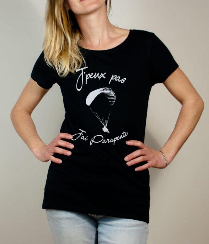 T-shirt Savoie : J'peux pas J'ai Parapente femme noir