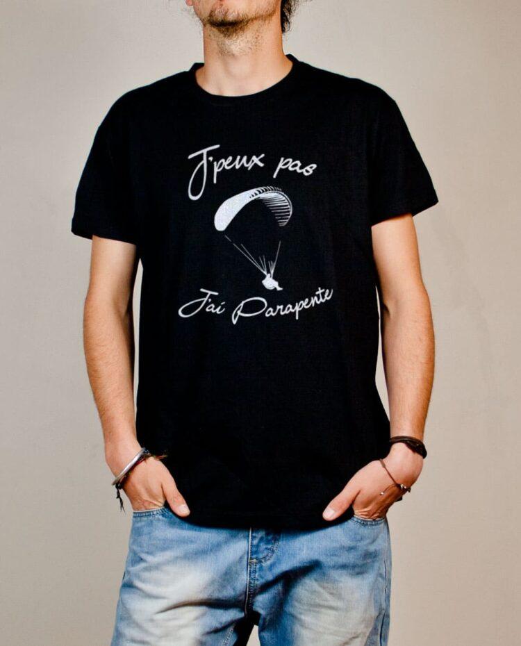 T-shirt Savoie : J'peux pas J'ai Parapente homme noir