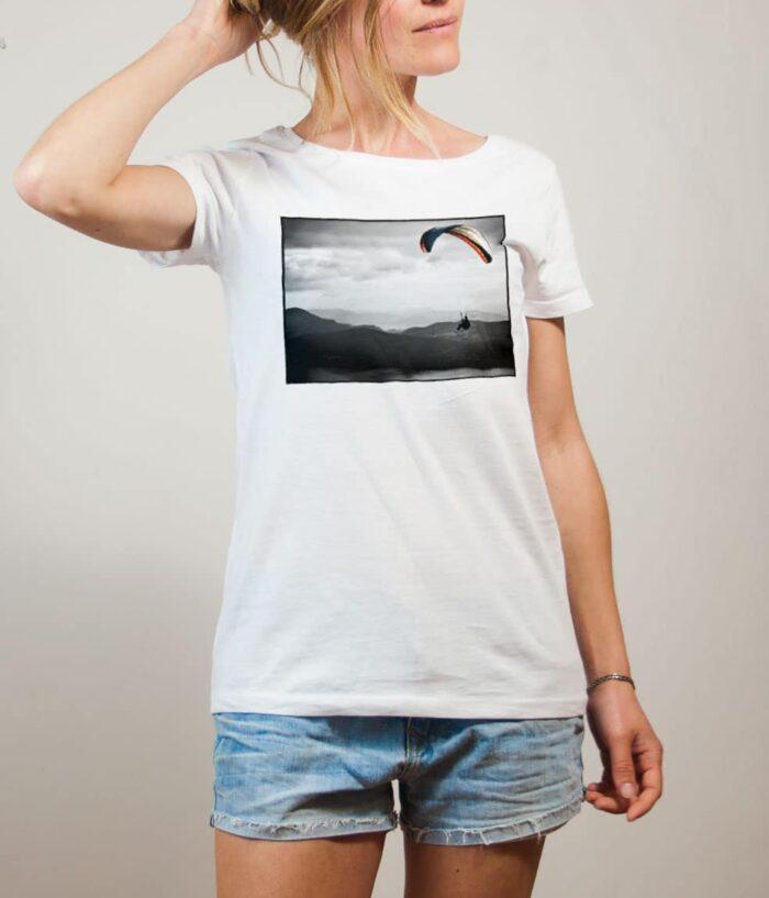 T-shirt Parapente paysage femme blanc