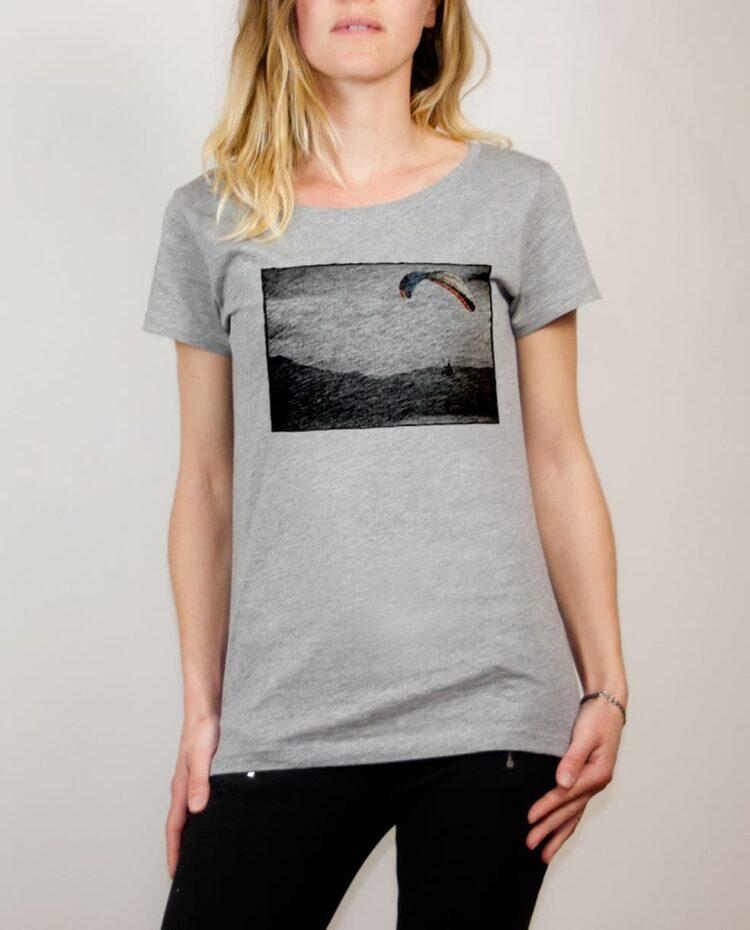 T-shirt Parapente paysage femme gris