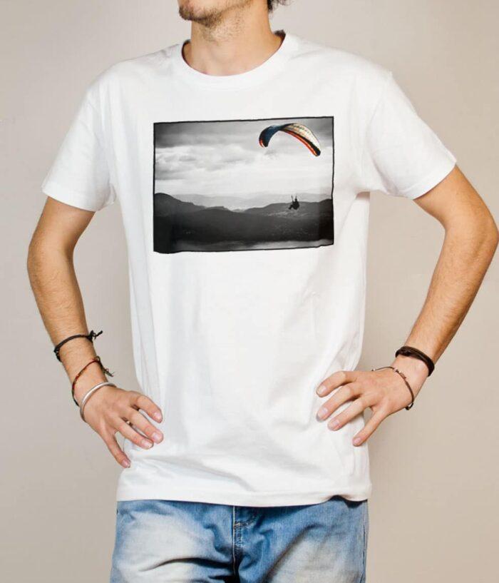 T-shirt Parapente paysage homme blanc