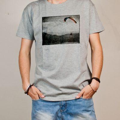 T-shirt Parapente paysage homme gris