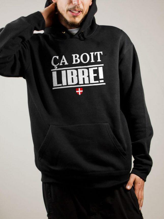 Sweat Savoie Libre : Ça boit libre homme noir